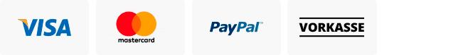 Sicher bezahlen mit: Visa, Mastercard, PayPal, Sofortüberweisung oder Vorkasse