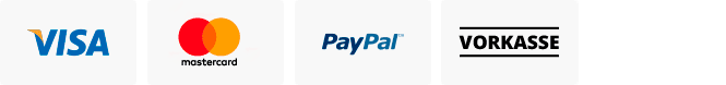 Secure payment with: Visa, Mastercard, PayPal, Sofortüberweisung oder Vorkasse